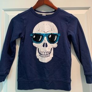 Carter's Shirts & Tops - Boys skull sweatshirt with sequin sunglasses.